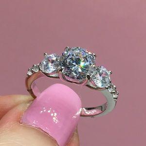 Jewelry - 14k white gold 3 stone diamond ring engagement 2ct